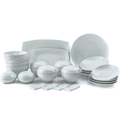 Cotton Rosemallow 31 Piece Korean Dinnerware set, Service for 4