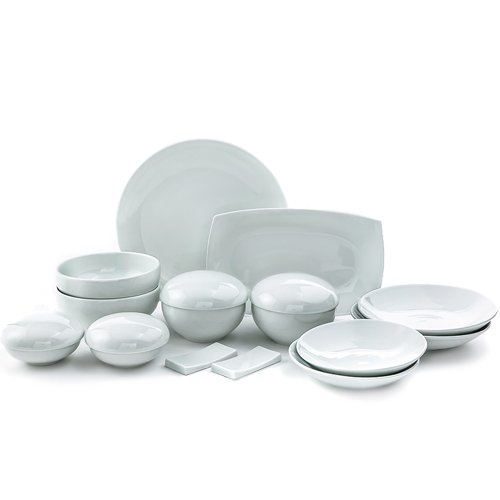 White 'Su' Line 18 Piece Dinnerware Set, Service for 2