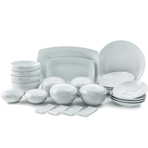 White 'Su' Line 31 Piece Dinnerware Set, Service for 4